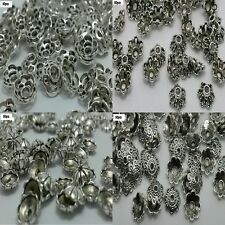 50pcs Silver Plated DIY Metal Loose Spacer Beads Flower Caps Jewellery Making