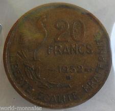 20 francs G Guiraud 1952 B : TB : pièce de monnaie française