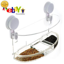 "WooPet! Window Bird Feeder Large 12"" Dual Suction Mounts, Separate Seed & Water"