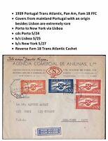 1939 Pan Am Transatlantic First Flight Cover Porto to New York via Lisbon