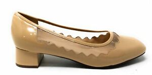 Trotters Womens Lark Slip On Wedge Pump Shoes Nude Patent Leather Size 7.5 Wide