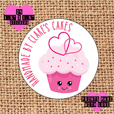 Personalised 24 handmade by labels cupcake cake baker kawaii pink double hearts