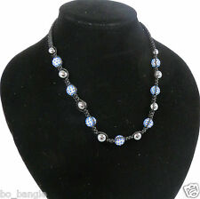 BLUE CRYSTAL AND HEMATITE BEAD FRIENDSHIP NECKLACE ON EXTENDING CORD
