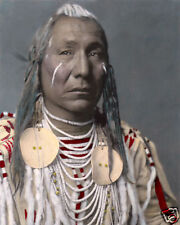 """RED WING NATIVE AMERICAN INDIAN APSAROKE CROW 8x10"""" HAND COLOR TINTED PHOTOGRAPH"""