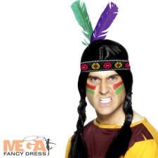 Native american à plumes serre-tête adultes déguisement western costume accessoire
