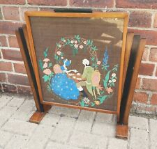 More details for art deco odeon style fire screen crinoline lady & gent afternoon tea embroidery