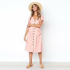 CA Womens Holiday V Neck Button Pocket Ladies Summer Beach Midi Swing Sun Dress