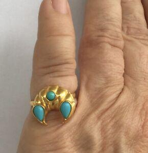 Vintage 22K Yellow Gold & Persian Turquoise Ring, Size 6.75 - 2.98 Grams
