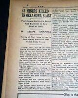 LUTIE Wilburton Latimer County Oklahoma Coal Mine EXPLOSION 1930 Old Newspaper