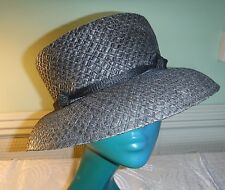 CHIC VINTAGE EDWARDIAN STYLE ACCESSORIZE BROWN/CHARCOAL WOVEN PAPER HAT ELEGANT