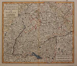 """Orig. kol. Kupferstichkarte Tirion """"Nuova Carta del Circolo di"""" um 1730 sf"""