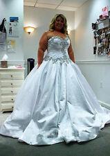 Custom Beaded Bridal Gown Crystal A Line Wedding Dress Plus Size 16 18 20 22 24+