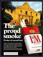 "1976 The Alamo photo ""The Proud Smoke""  L&M Cigarettes vintage print ad"