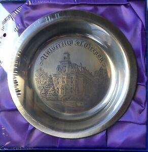 1975 Solid Silver University of Oregon Ducks Plate Etched Silver Platter Mint
