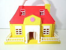 Vintage Polly Pocket playset, two story yellow school house, Blue Box doll 1990s