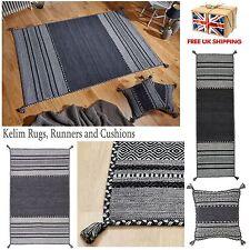Kelim Grey Rugs Hall Runners and Cushions Tribal Aztec Geometric Design Tassels