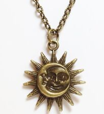 """MOON & SUN_Bronze Pendant on 18"""" Chain Necklace_Night Day Pagan Wiccan Sky_212N"""