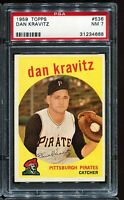 1959 Topps Baseball #536 DAN KRAVITZ Pittsburgh Pirates PSA 7 NM
