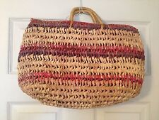 Pink & Purple Wicker Beach Handbag Purse
