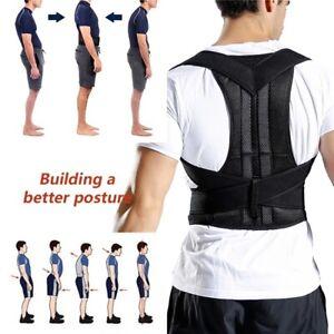 Men Women Posture Corrector Adjustable Low Back Support Shoulder Brace Belt Gym