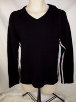 Armani Jeans Simin T Womens V-Neck Sweater Black Sz Large Made in Italy CB10L