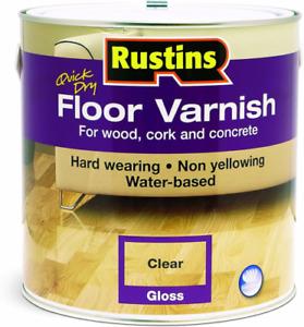 Rustins - Floor Varnish for Wood / Hard Floors - GLOSS - CLEAR - 1L