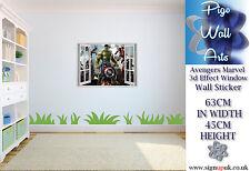 Adesivo Parete MARVEL HULK 3D effetto Finestra Per Bambini Camera Da Letto Bambini Adesivi Murali