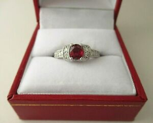 Red Oval Faceted Ruby & Diamond Carved 14K White Gold Ring