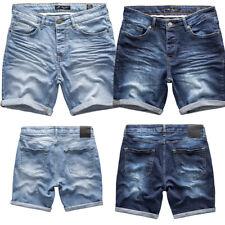 Herren Basic Jeans Shorts Kurze Crinkle Hose Sommer Bermuda Verwaschen J5002