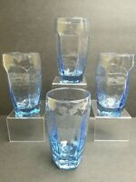 Libbey Chivalry Blue Flat Tumblers 12 Oz Sharpe Textured Ice Drinking Glass Set