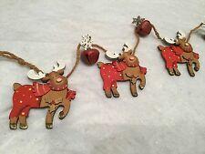 98cm Wooden Reindeer Christmas Garland With Red Sleigh Bells Traditional Wall