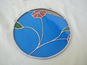"Vintage Hanging Stain Glass, Modern, Mod Flower, 9 1/8"" Round"