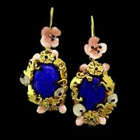 925 Sterling Handmade Filigree Antique Victorian Natural Lapis Lazuli Earrings