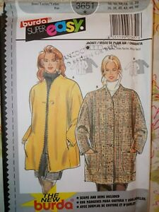 BURDA SUPER EASY PATTERN #3651 Loose Fitting Jacket Sizes 10-20 UNCUT FF