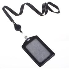 1x Leather Business ID Badge Card Holder & Retractable Lanyard Neck Strap Band