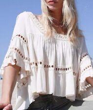 L New ANTHROPOLOGIE Bohemian Cream Eyelet Lace Detail Crochet Top Blouse Large