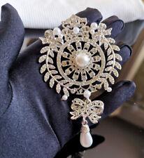 Size Brooch Pin Wedding Gift 002 New High Quality Pearl Rhinestone Crystal Big