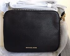 NWT MICHAEL KORS Brooklyn Large Leather Camera Bag Purse Handbag $398 Black