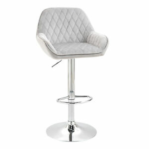 Modern Bar Stool Kitchen Counter Dining Chair Padded Seat Low Back Swivel Grey