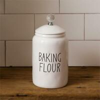 New Rae Dunn Inspired Farmhouse WHITE BAKING FLOUR CANISTER Jar Crock Container
