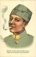 Foreign (French of Belgian)? Soldier Smoking Cigarette Postcard WWI Era