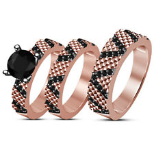 His Her 14K Rose Gold Finish Round AAA Diamond Engagement Band Ring Trio Set