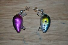 fishing lure miniature earrings sterling and 14 K