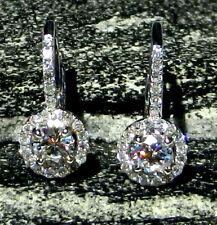 Certified 2.60Ct White Moissanite Engagement Wedding Earring 14K White Gold Over