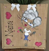 Personalised Jute Bag 32cm x 32cm Mothers Day Gift Mum Mummy Nan Nanny Gran