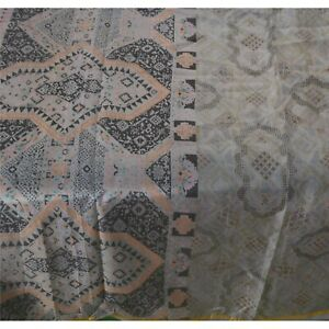Sanskriti Vintage Grey Sarees 100% Pure Silk Printed Zari Border Fabric Sari