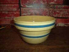 "Antique Primitive Farm Rustic STONEWARE Yellow ware Blue Banded 7"" Mixing Bowl"