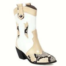 Punk Women Snakeskin Pattern Pointed Toe 6.5 cm Block Heel Chelsea Ankle Boots L