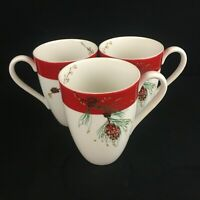 Set of 3 Tall Mugs by Lenox Winter Song White with Red Band and Pinecones