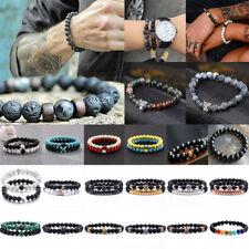2Pcs Unisex Natural Gemstone Beads Lava Rock Stone Bracelet Lion/Crown Head Bead